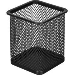 Подставка для письменных принадлежностей Attache (квадратная, 80х80х98 мм, металлическая сетка, черная)