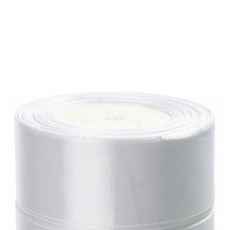 Лента атласная (размер:40мм х 25 ярдов) Цвет:белый