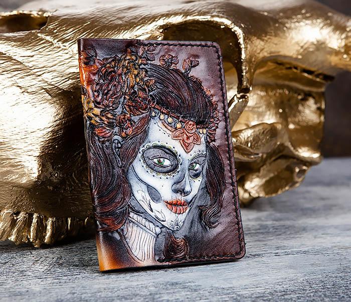 BC173 Обложка на паспорт с девушкой в стиле Дня Мертвых