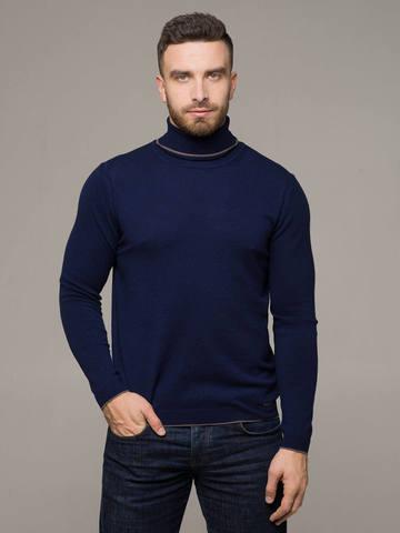 Мужской джемпер темно-синего цвета из 100% кашемира - фото 1