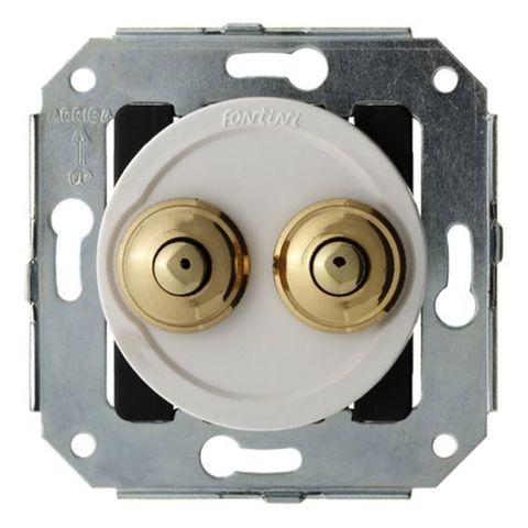 Выключатель/кнопка двойной, нажимной 10А 250В~. Цвет Хром/белый. Fontini Venezia(Фонтини Венезия). 35343252