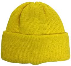 Зимняя шапка бини с отворотом - ярко желтый цвет
