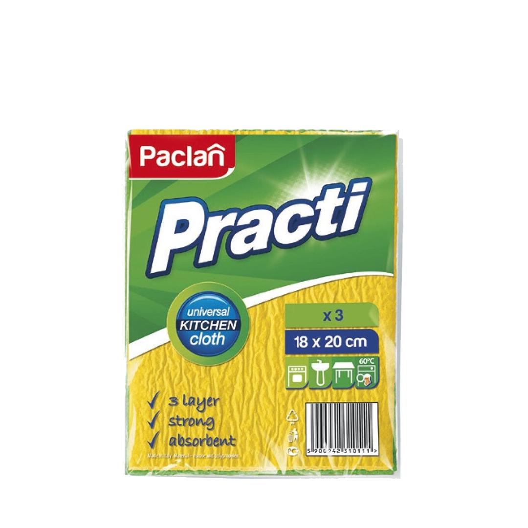 Paclan Салфетки хозяйственные трехслойные для влажной уборки 18*20 см 3 шт