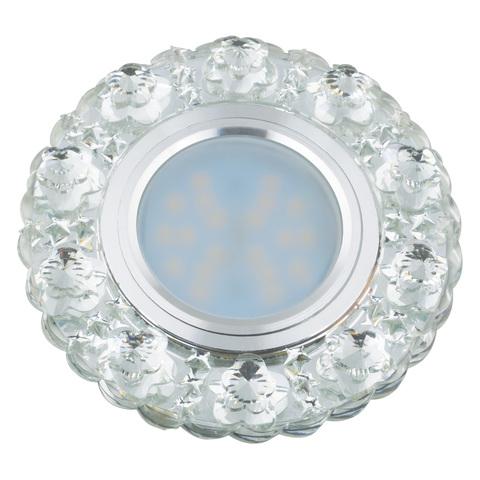 DLS-L129 GU5.3 CHROME/CLEAR Светильник декоративный встраиваемый, серия Luciole. Без лампы, цоколь GU5.3. Доп. светодиодная подсветка 3Вт. Металл/стекло. Хром/матовый+белый. ТМ Fametto