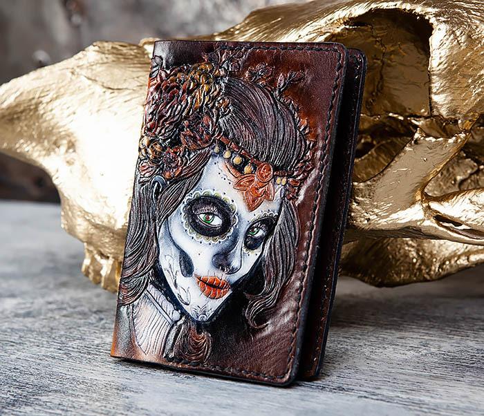 BC173 Обложка на паспорт с девушкой в стиле Дня Мертвых фото 03