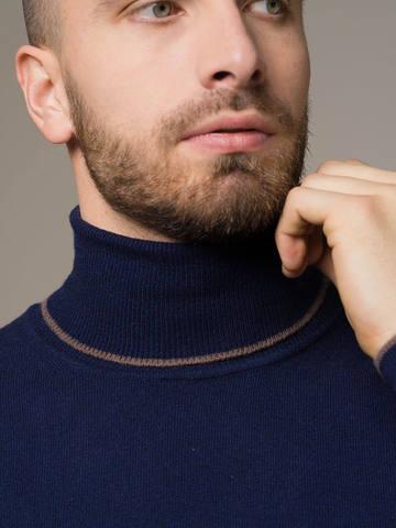 Мужской джемпер темно-синего цвета из 100% кашемира - фото 4