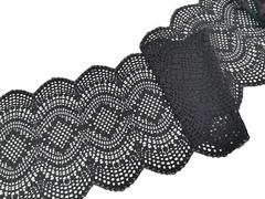 Эластичное кружево, 21 см, черный, (Арт: EK-1064), м