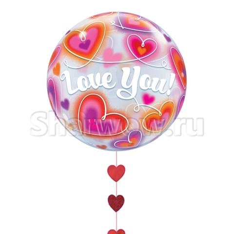 Прозрачный шар бабл с витыми сердцами и надписью I Love You, 56 см