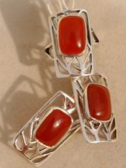 Карио (кольцо + серьги из серебра)