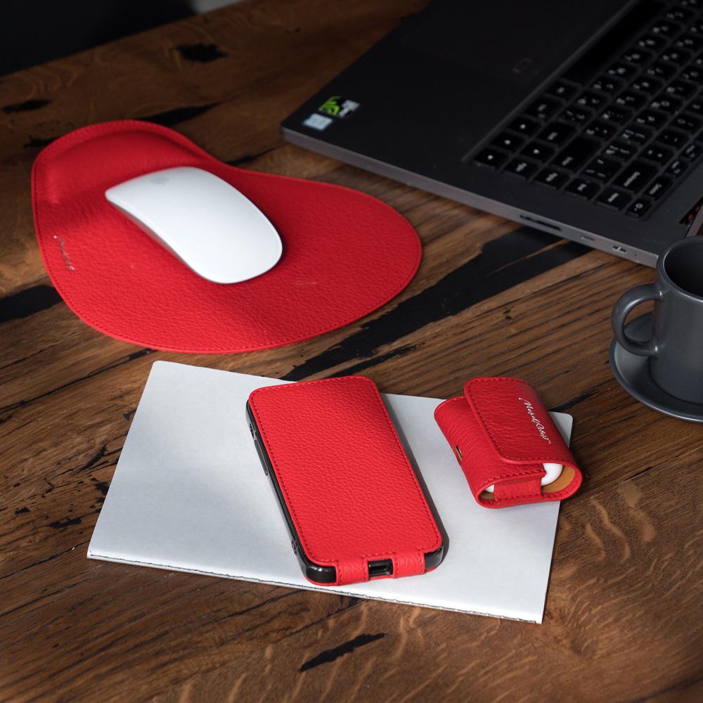 Коврик для мышки Souris из натуральной кожи теленка, красного цвета