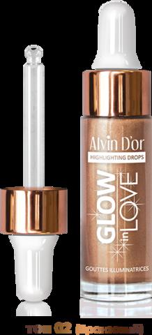 Alvin D`or HL-03 Жидкий хайлайтер GLOW in LOVE drop 15мл (тон 02 бронзовый)
