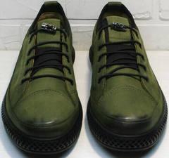 Закрытые туфли кеды без шнурков мужские Luciano Bellini C2801 Nb Khaki.