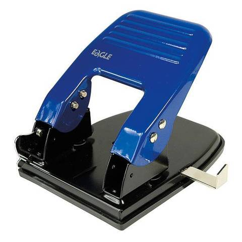Дырокол EAGLE синий металл 30 л. линейка форматов