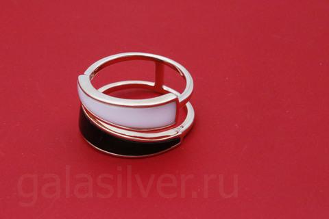 Кольцо ониксом и агатом из серебра 925