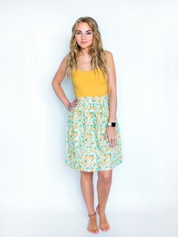 Юбка хлопковая мятно-желтая в цветах