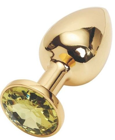 Золотистая анальная пробка с желтым кристаллом - 9,5 см.