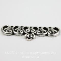 Винтажный декоративный элемент - коннектор (1-5) 37х15 мм (оксид серебра)