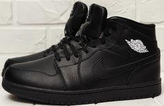 Кожаные кроссовки мужские зимние Nike Air Jordan 1 Retro High Winter BV3802-945 All Black