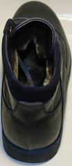 Зимние ботинки мужские кожаные кеды. Спортивные ботинки с мехом Ікос BlueLeather.