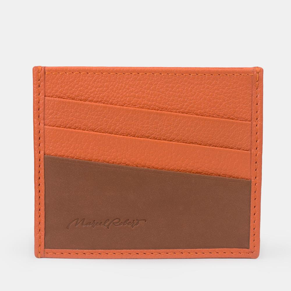 Картхолдер-визитница суфле Carte+ Bicolor из натуральной кожи теленка, оранжевого  цвета