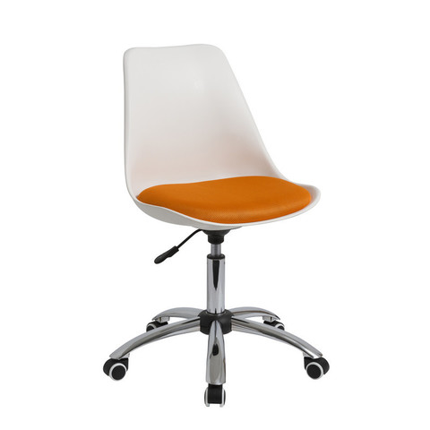 Кресло офисное Easy Chair 212 без подлокотников белое/оранжевое (ткань/пластик/металл)