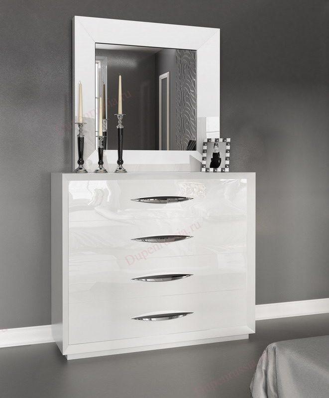 Зеркало FRANCO 1018 CARMEN белое, Комод горизонтальный FRANCO 1017 CARMEN белый