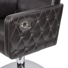 Парикмахерское кресло МД - 166 гидравлика хром, квадрат хром с прострочкой и утяжкой пуговицами боковин
