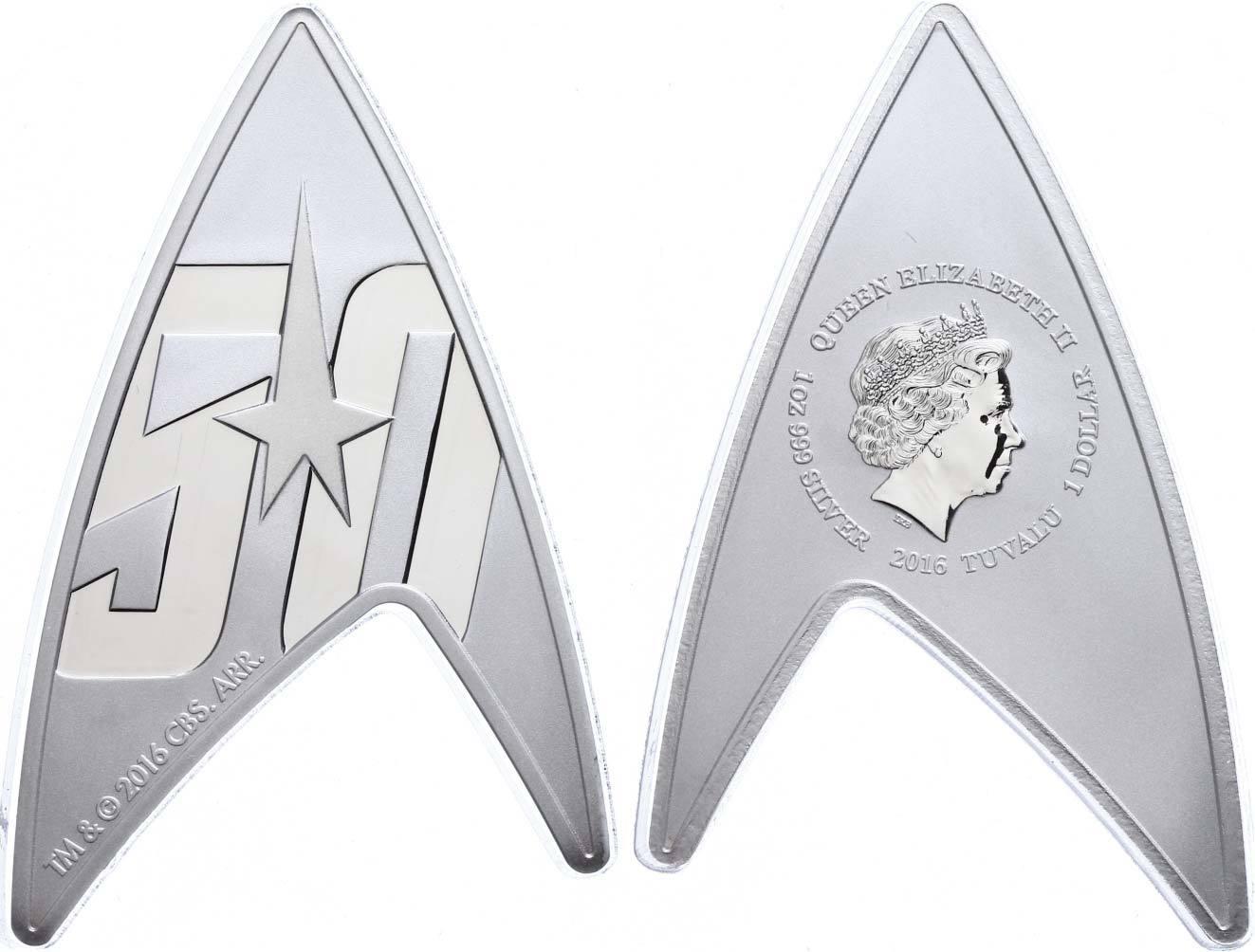 1 доллар. Star Trek. Звёздный путь. Тувалу. Серебро. 2016 год