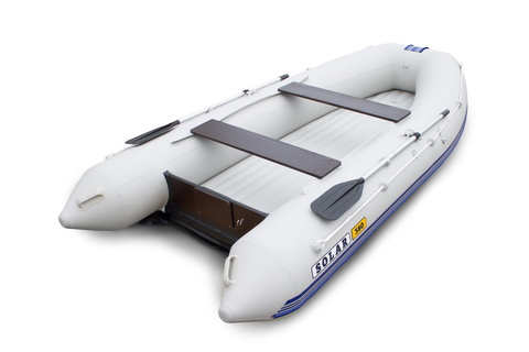 Надувная ПВХ-лодка Солар Оптима - 380 (светло-серый)