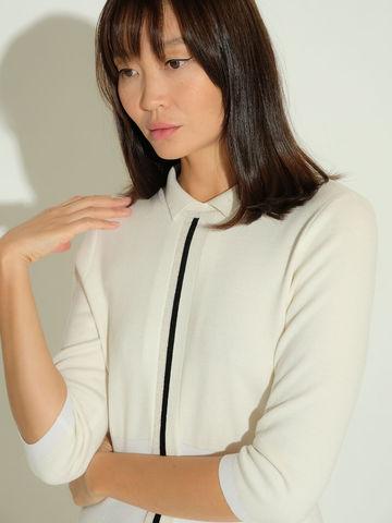 Женское платье молочного цвета из шерсти и шелка - фото 4