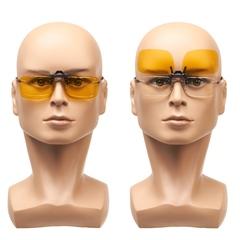 Клипон с желтыми поляризованными светофильтрами предназначен для присоединения к вашим собственным очкам как к диоптрическим, так и к солнцезащитным.
