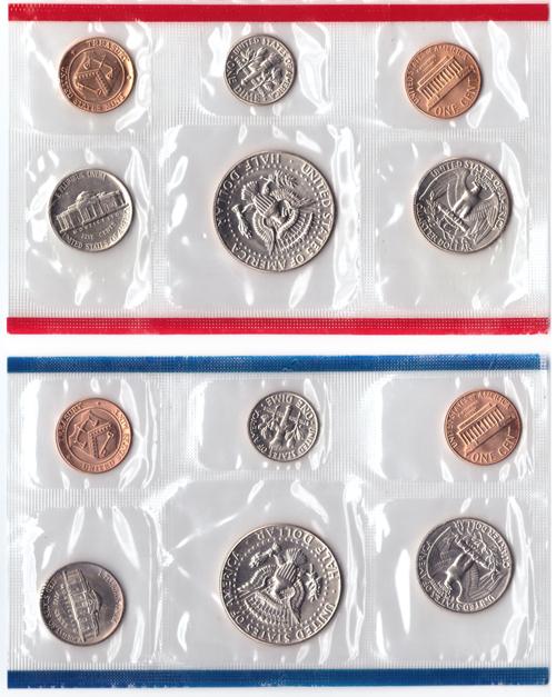 Набор США 1984 (D и P) UNC 2x(5 монет + жетон) в родном конверте. Медно-никель, медь