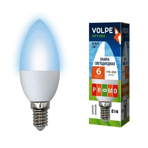 Volpe Лампа LED-C37-6W/NW/E14/FR/O Optima свеча (белый свет)