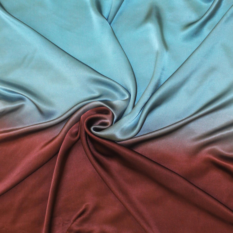 Шелковый платок батик Синева и шоколад С-86