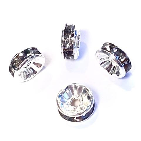 Рондель со стразами 8 мм. серебро - прямая обжимка серый топаз