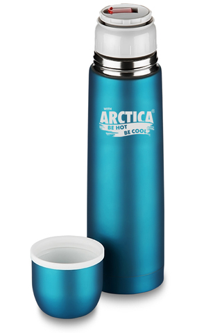 Термос Арктика (0,5 литра) с узким горлом классический, бирюзовый, резиновое покрытие, кнопка