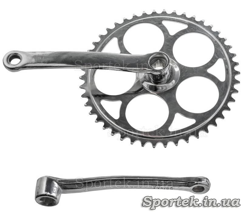 Шатуни для одношвидкісного велосипеда під квадрат, зірка на 46 зубів, 165 мм
