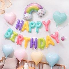 Фольгированная надпись Happy Birthday макарунс
