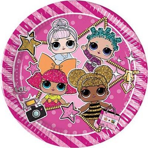 Тарелки малые Куклы ЛОЛ, 8 штук