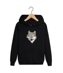 Толстовка черная 008 с капюшоном (худи, кенгуру) и принтом Волк (Wolf)