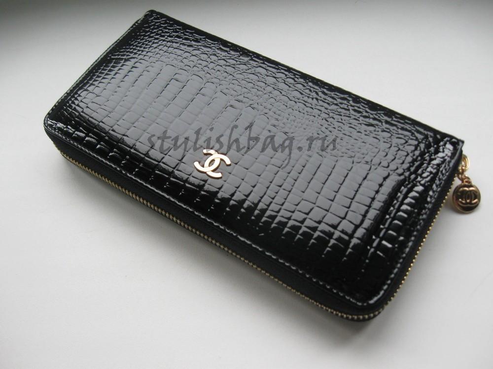 Купить женский кошелек на молнии Chanel 9046 из черной кожи в интернет магазине Stylishbag