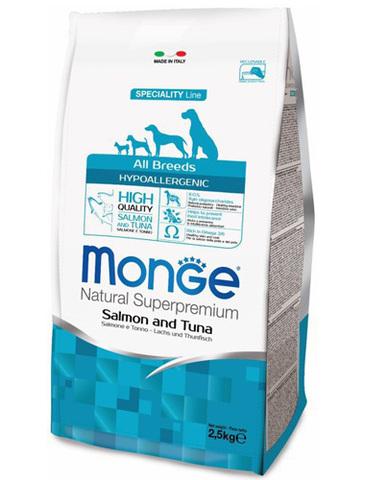15 кг. MONGE Сухой гипоаллергенный корм для собак с лососем и тунцом Dog Speciality Hypoallergenic Salmone&Tuna