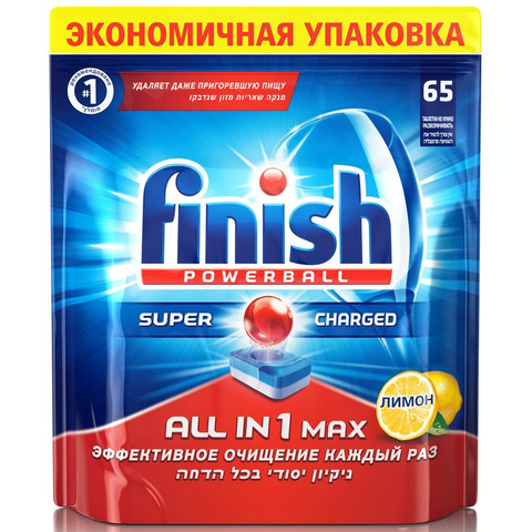 Таблетка для ПММ FINISH All in 1 Max Лимон 65 шт/уп, 871199