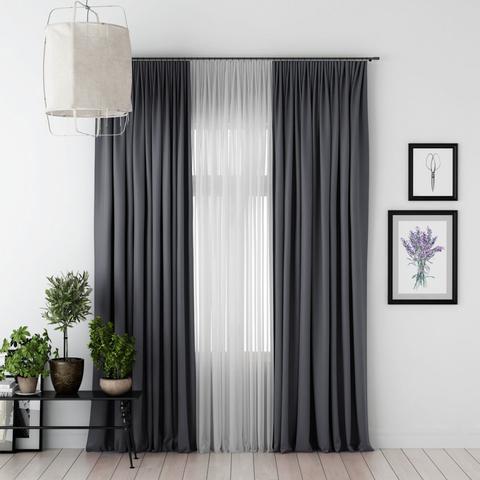 Комплект штор и тюль Джина блэкаут темно-серый