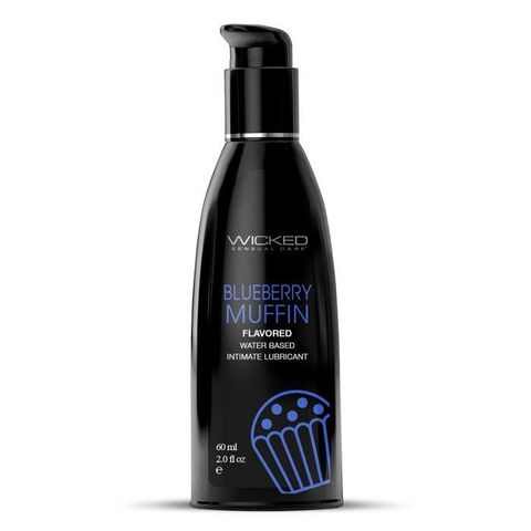Лубрикант на водной основе с ароматом черничного маффина Wicked Aqua Blueberry Muffin - 60 мл.