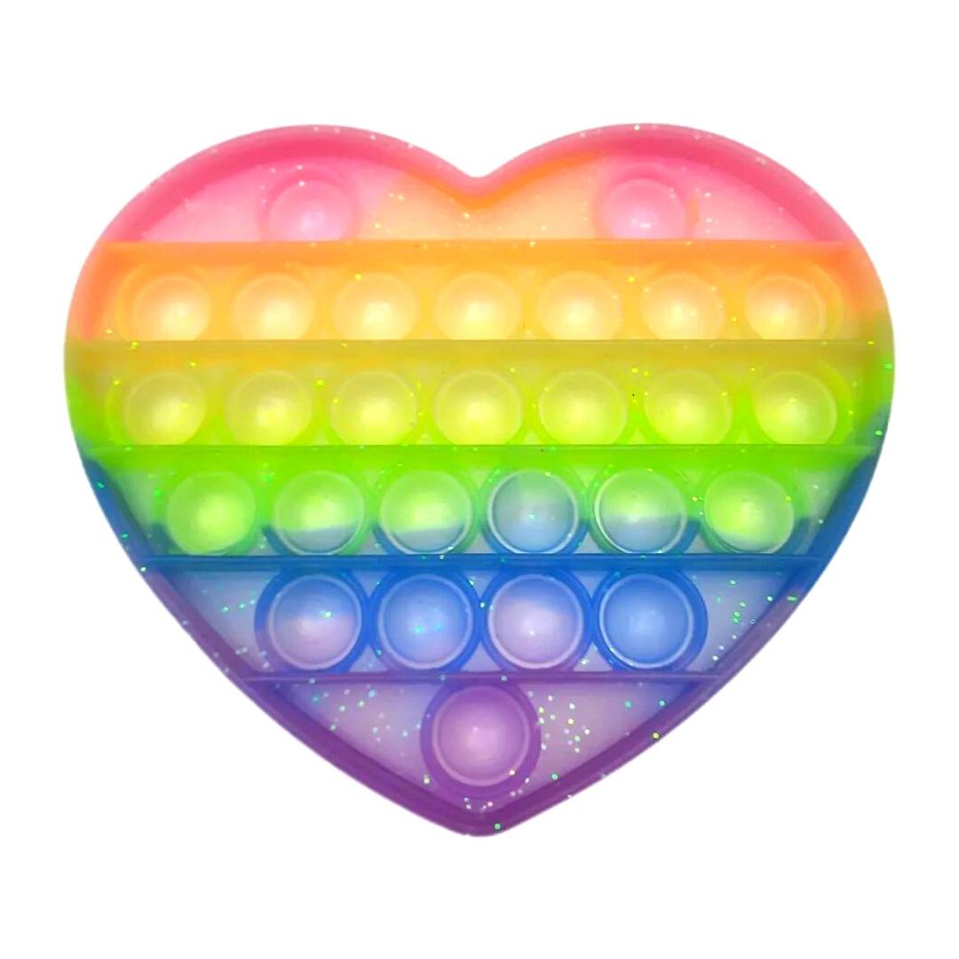 Пупырка вечная антистресс pop it (поп ит) радужное сердце пастель с блестками