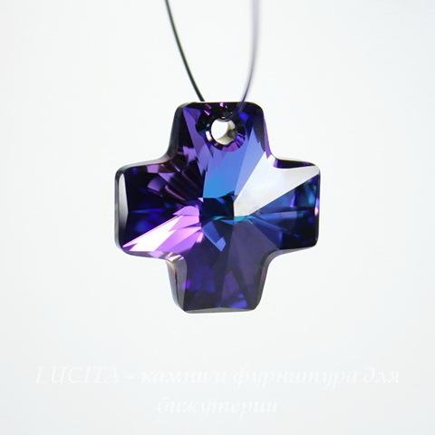 6866 Подвеска Сваровски Крестик Crystal Heliotrope (20 мм)