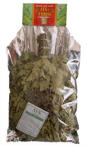 Веник с травами — дуб с мятой (в упаковке)