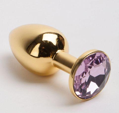 Золотистая металлическая анальная пробка с розовым стразом - 9,5 см.