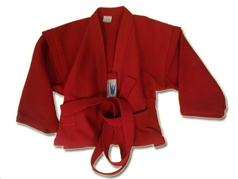 Куртка для самбо. Цвет красный. Размер 56.